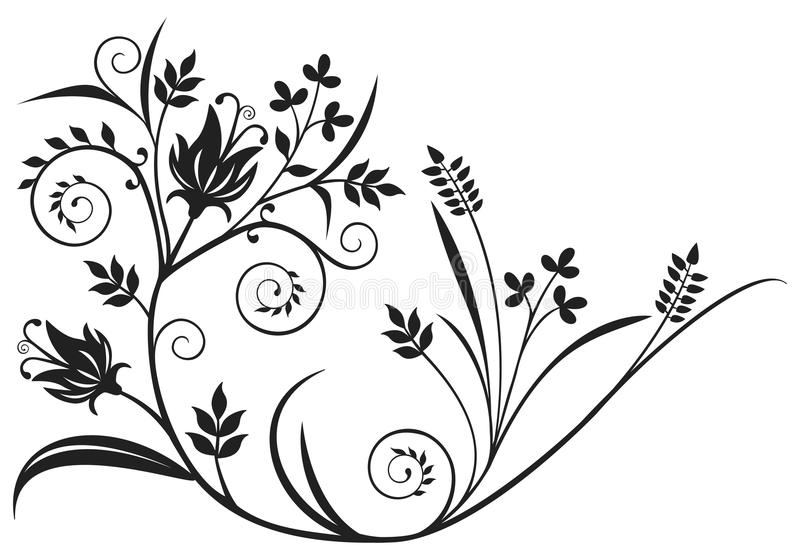 Black floral element vector illustration