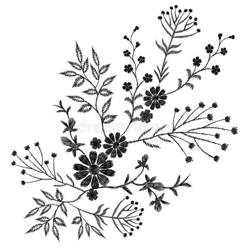 Black floral embroidery ornament. Fashion clothes decoration patch stitch texture embroidered field flower leaves. White stock illustration