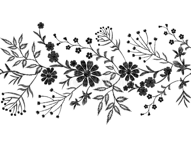 Black floral embroidery ornament. Fashion clothes decoration seamless border band stitch texture embroidered field royalty free illustration