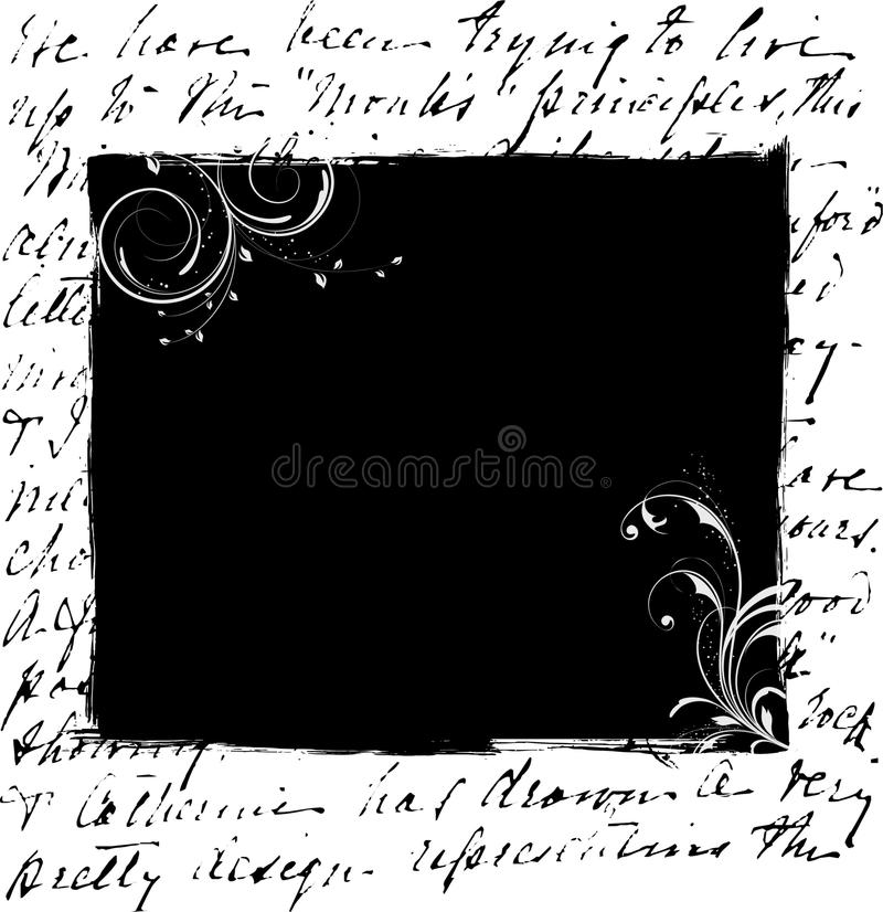 Black floral frame on writing patterns. A big black frame with white floral patterns bordered by wroten words vector illustration