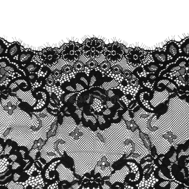 Black floral lace on a white. Background royalty free stock image