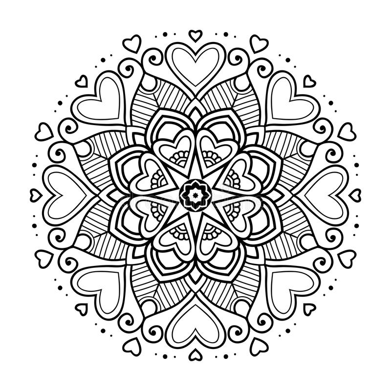 black floral mandala with hearts stock vector