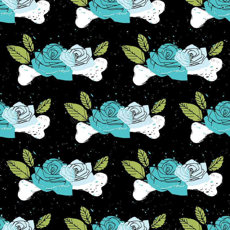 Black floral seamless horror background vector illustration