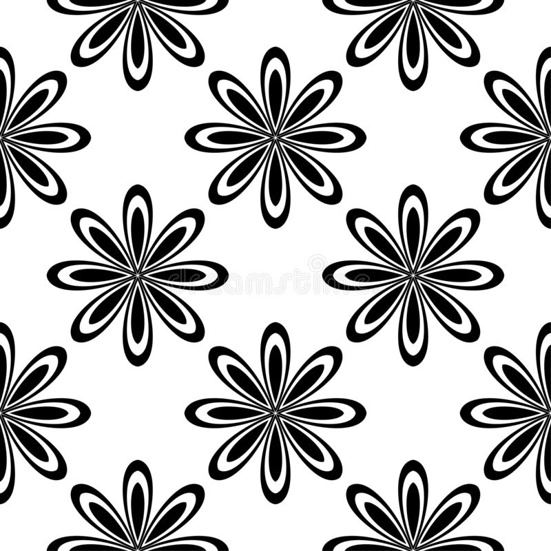 Black floral seamless pattern on white background royalty free stock image