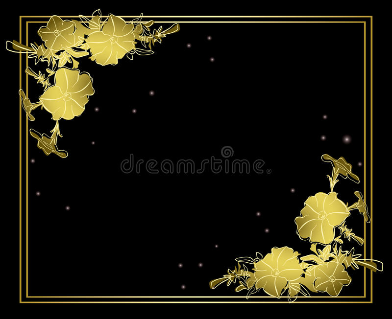 Black floral vector card with gold decorations royalty free illustration