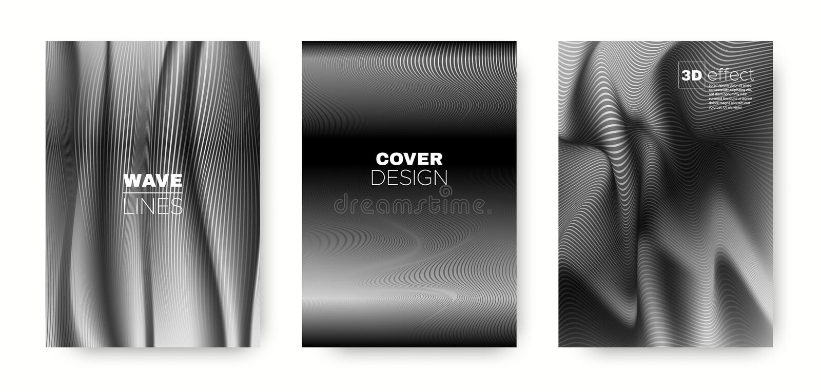 Black Flow Concept. Minimal Cover. Dynamic. Background. 3d Movement Linear Texture. Wave Template. Gray Abstract Cover. Dynamic Background. Wave Template stock illustration