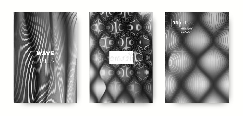 Black Flow Concept. Vector Cover. Dynamic. Background. 3d Movement Linear Texture. Fluid Template. Gray Modern Cover. Dynamic Background. Flow Template vector illustration