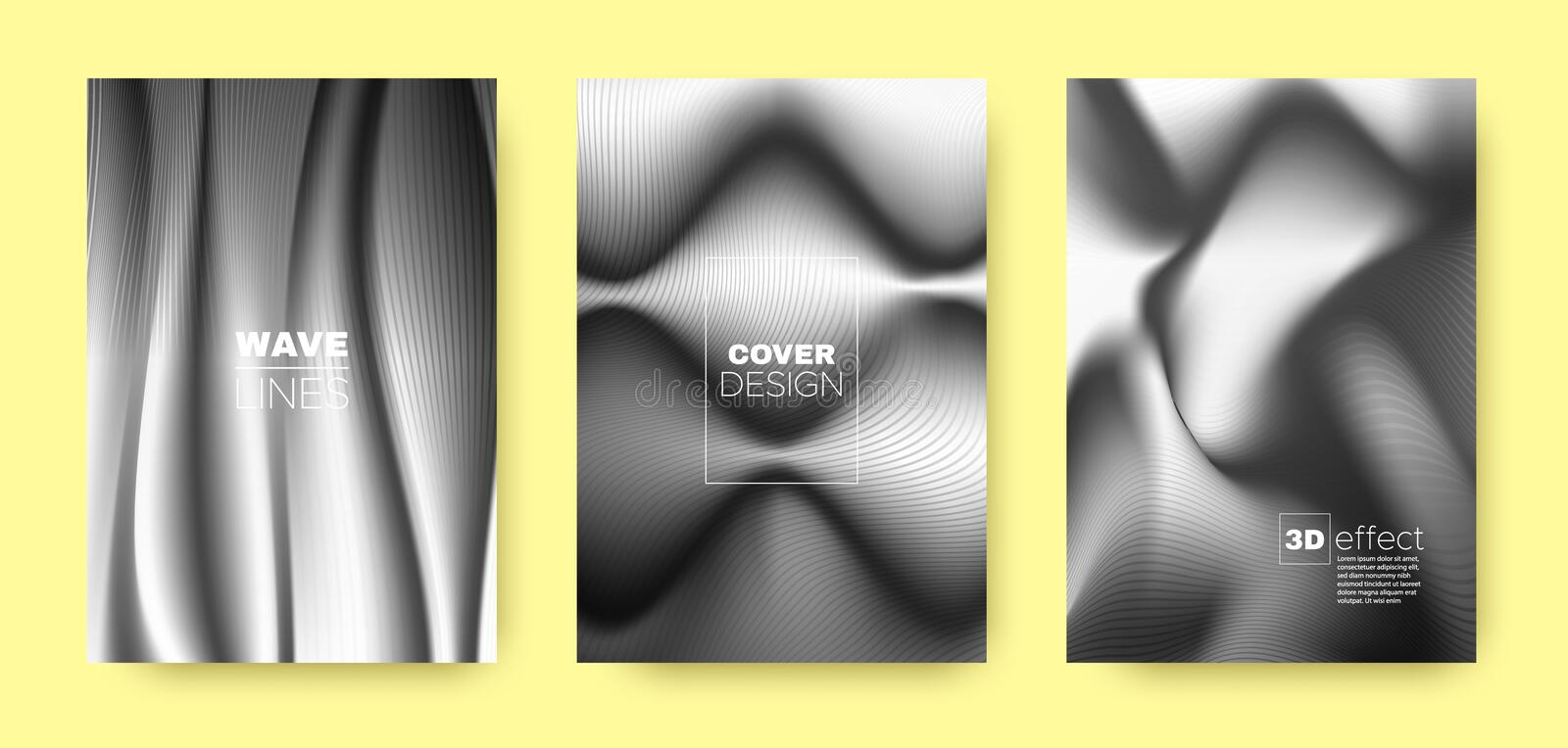 Black Flow Template. Modern Cover. Dynamic. Background. 3d Movement Halftone Gradient. Fluid Template. Gray Abstract Cover. Business Brochure. Wave Concept royalty free illustration
