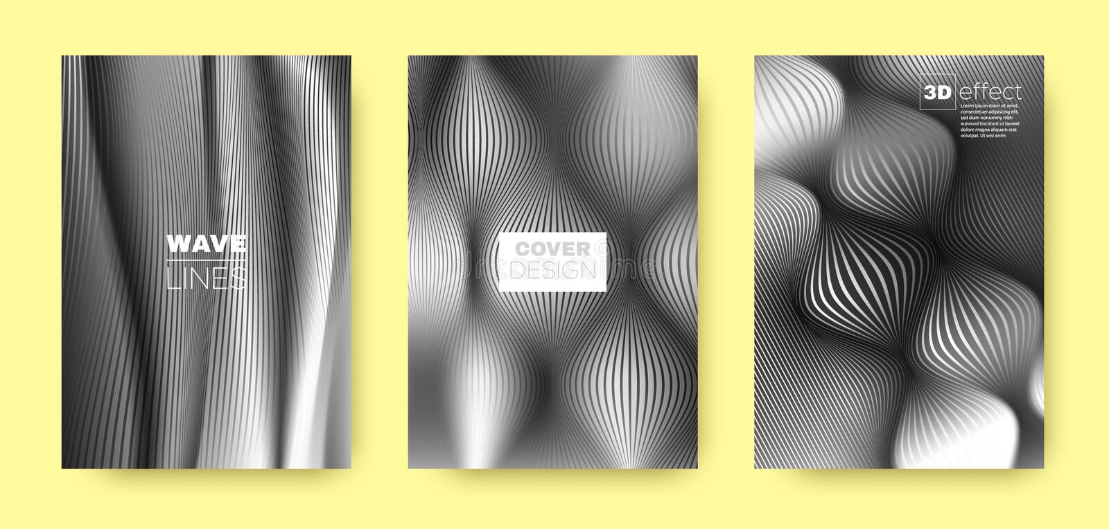Black Flow Template. Vector Cover. Business. Background. 3d Movement Linear Texture. Fluid Concept. Black Vector Cover. Business Brochure. Fluid Template royalty free illustration
