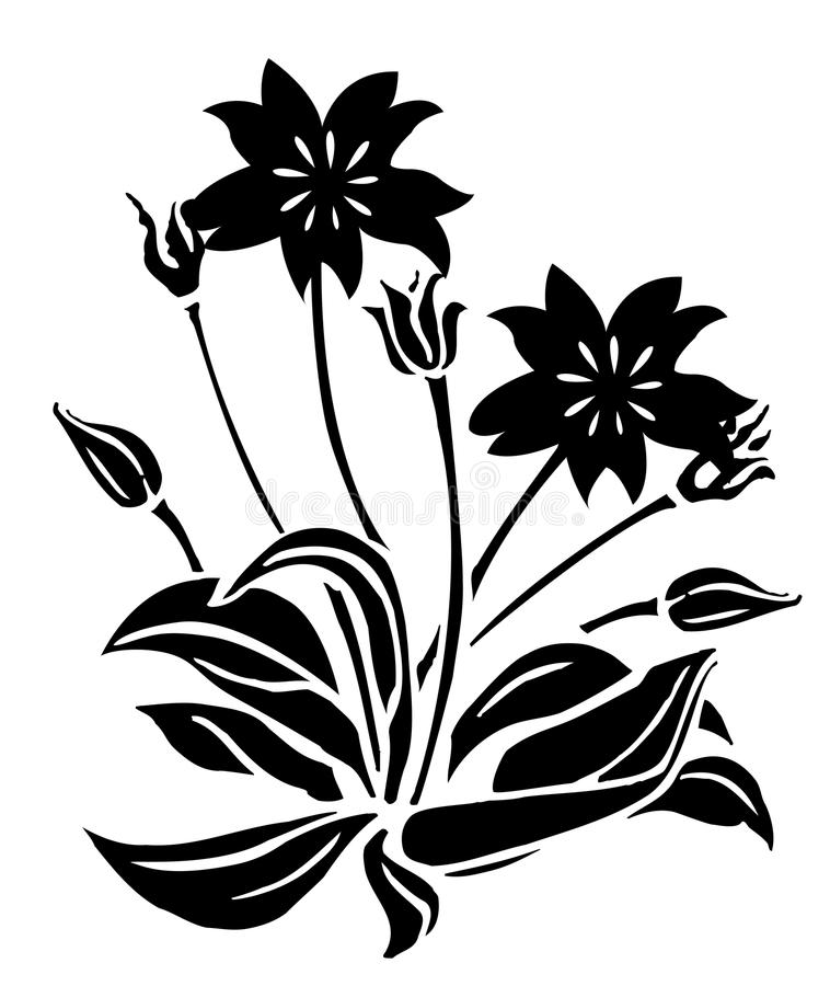 Black Flower And Bud Pattern Royalty Free Stock Photos