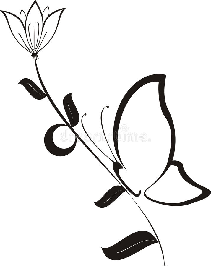 Download Black Flower With Butterfly, Vector Stock Images - Image: 12100194
