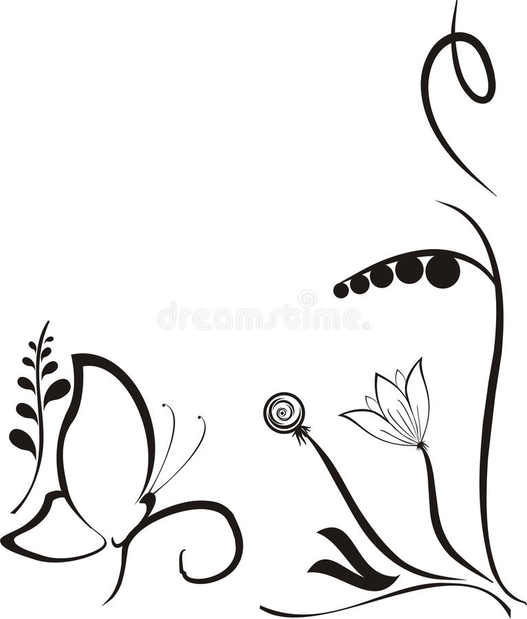 Black flower and a butterfly, vector stock illustration