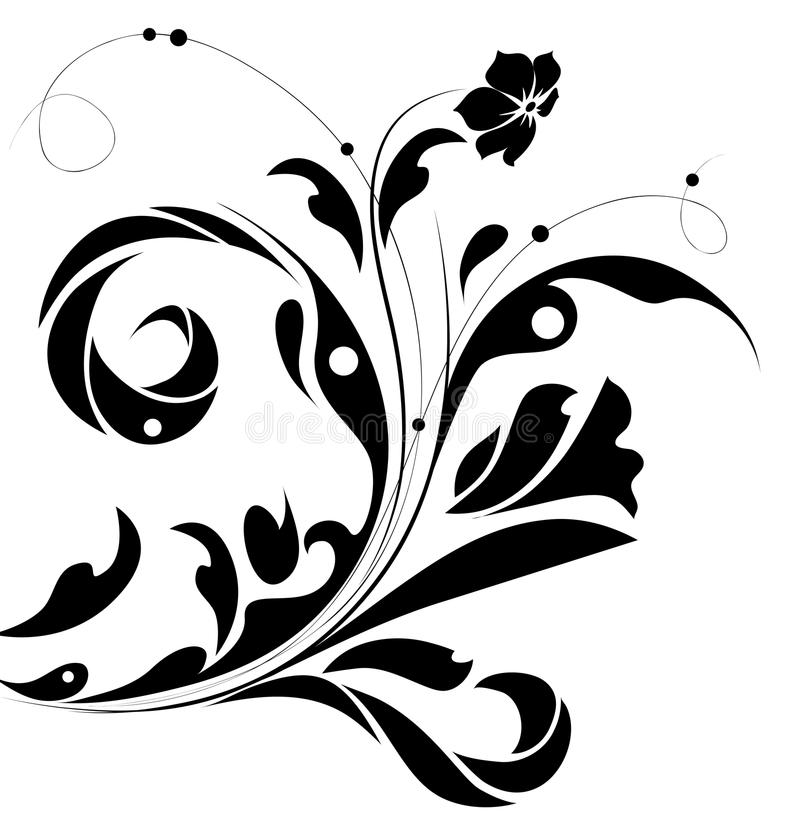 Black Flower And Bud Pattern Royalty Free Stock Photos: Black Flower Pattern Silhouette Stock Illustration
