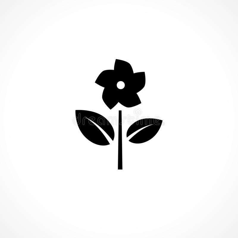 Black flower plant icon. Floral glyph sign. Herbal silhouette royalty free illustration