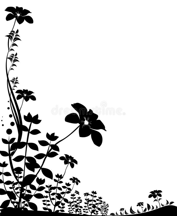 Black Flower Pattern Silhouette Stock Illustration: Black Flower Silhouette Stock Illustration. Image Of