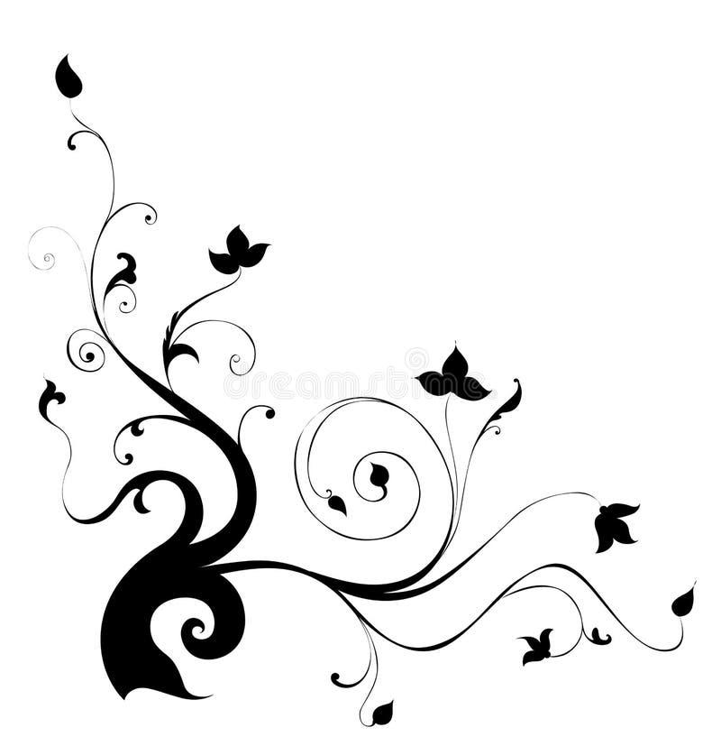 Black Flower Pattern Silhouette Stock Illustration
