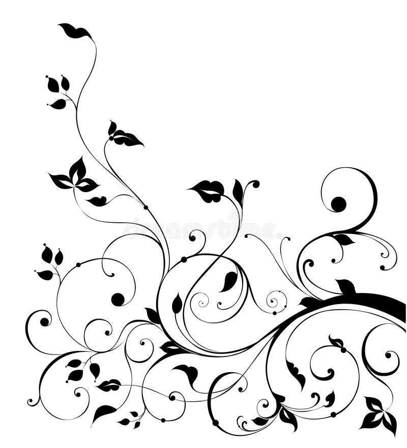 Black flower and vines pattern stock illustration