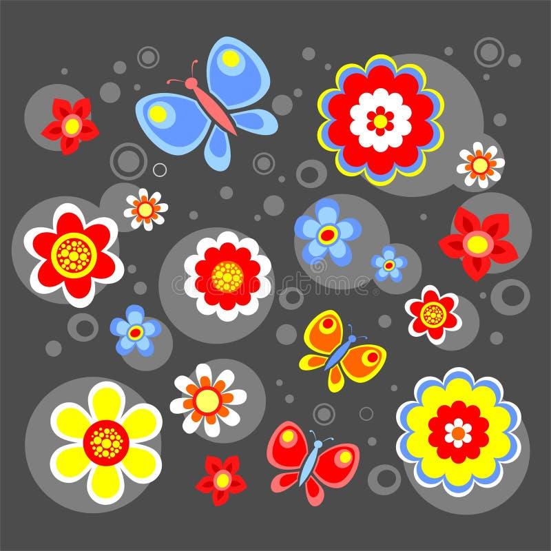 Black flowers background stock illustration