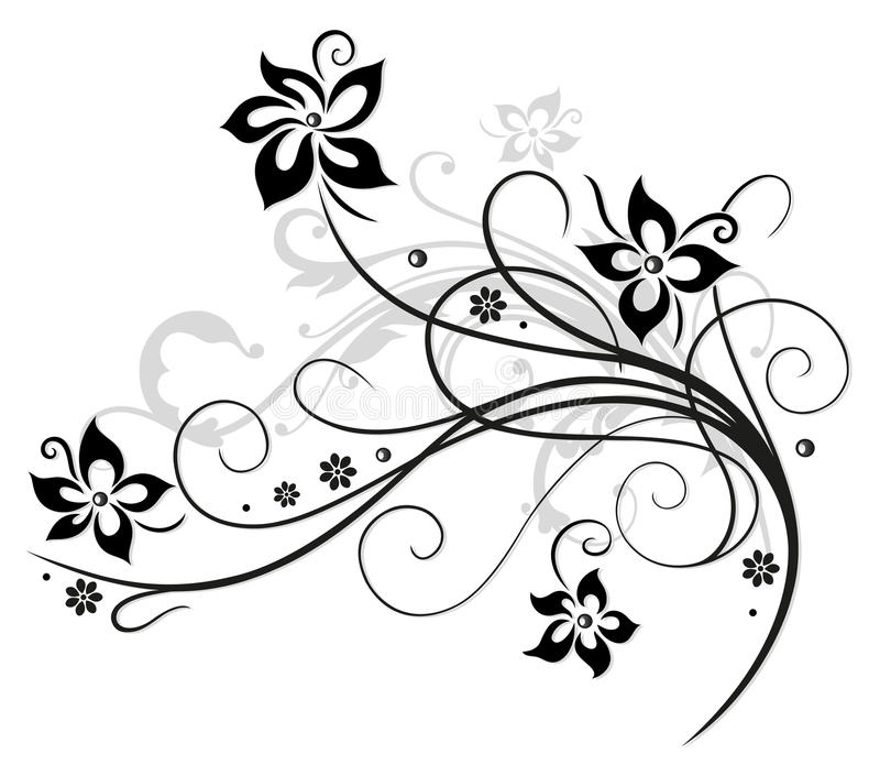 Black flowers, floral element stock illustration