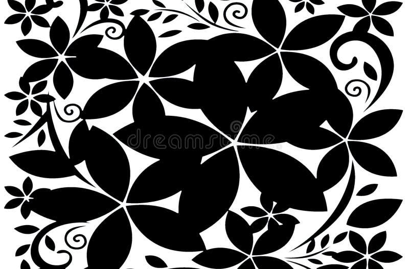 Black flowers pattern on white background. Illustration design royalty free stock photo