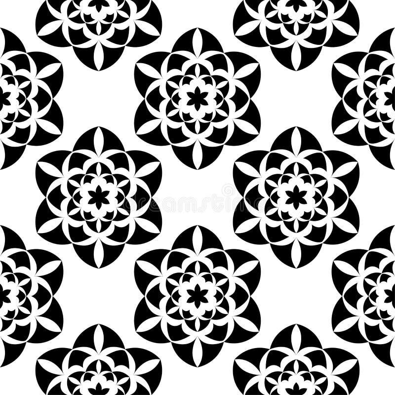 Black flowers on white background. Ornamental seamless pattern royalty free illustration