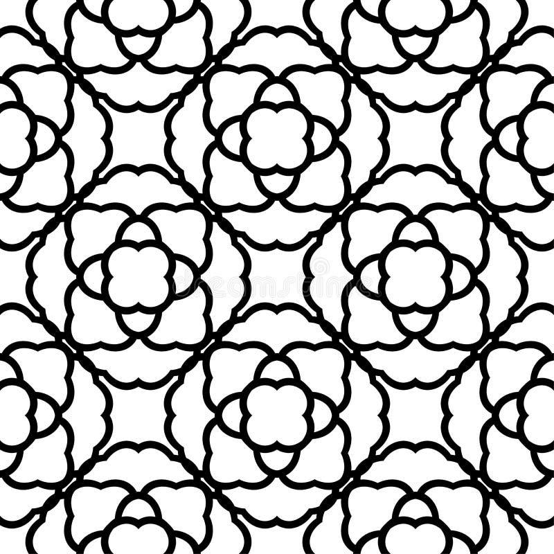 Black flowers on white background. Ornamental seamless pattern vector illustration