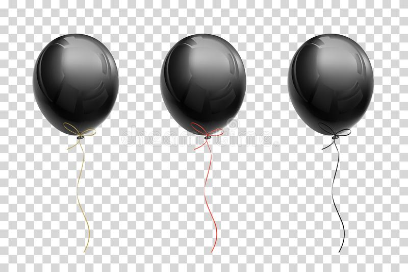 Black flying balloon with ribbons of gold, red, black on a trans royalty free illustration