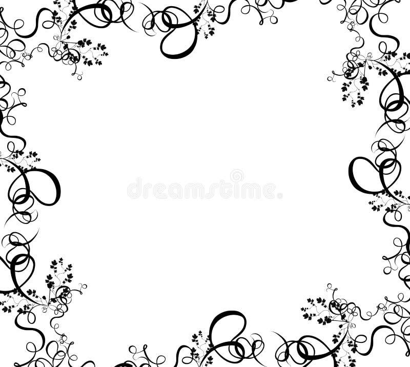 Black foliage border vector illustration
