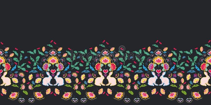Black folk art border with bunny. royalty free illustration