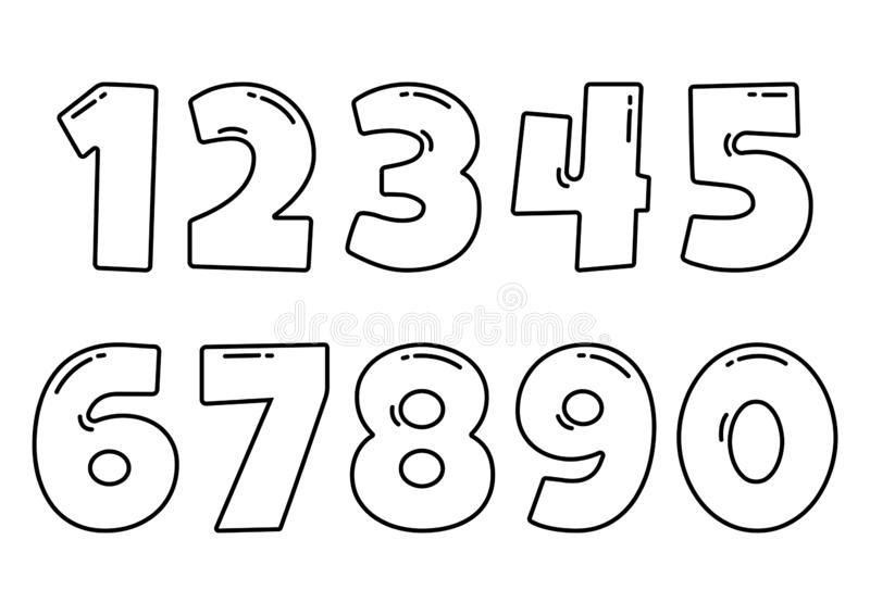 Black font numbers from 1 to 0, outline design. Vector. Illustration vector illustration