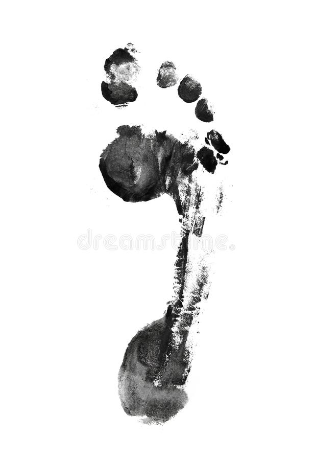 ..Black Footprint  on white background stock photo