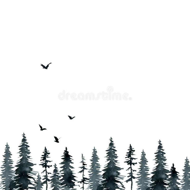 Black gloomy forest if and pine, birds watercolor background royalty free illustration