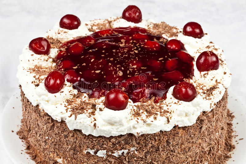 Black forest cake. Homemade Black forest cake with cherries royalty free stock photo