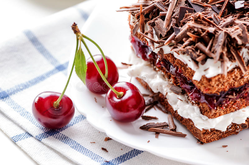 Black Forest cake piece with cherries berries. Black Forest cake piece on white plate with cherries berries close-up stock photography