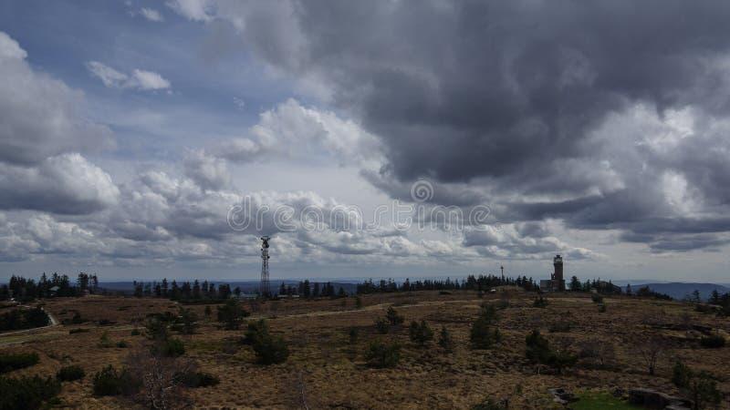 Black forest dark clouds rising. German road Trip black forest dark clouds rising stock photography
