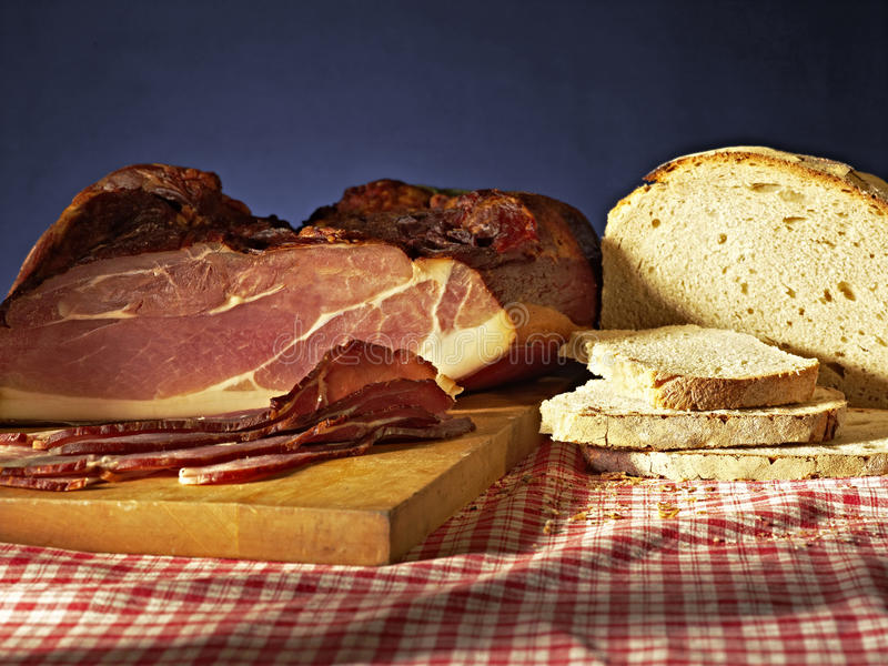 Black forest ham bread royalty free stock photography