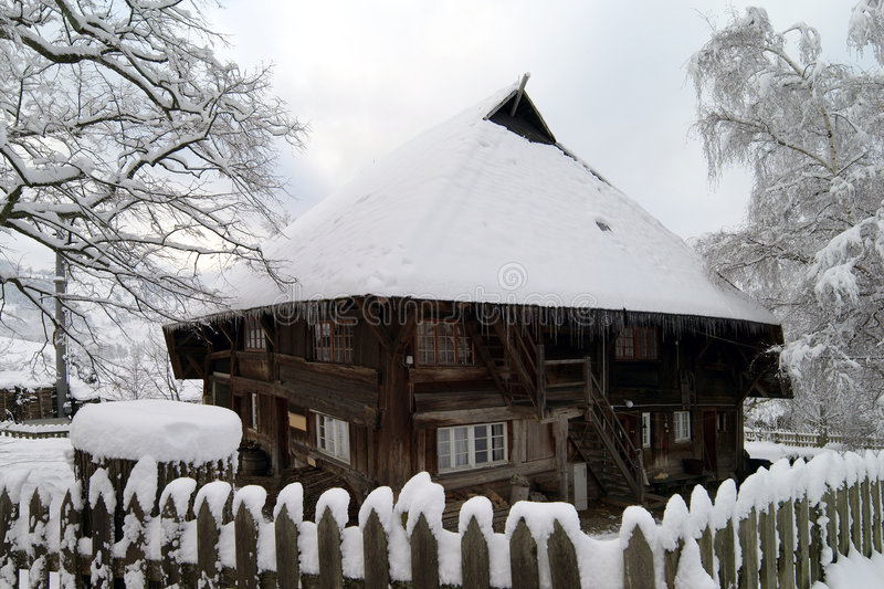 Black Forest house. In winter, Germany royalty free stock photos