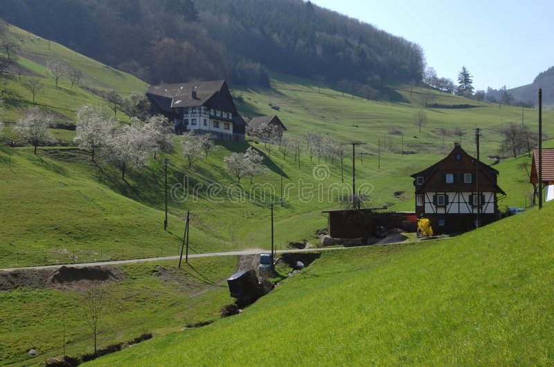 Black Forest village. Spring in the Black Forest, Germany royalty free stock image