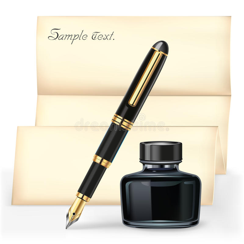 Black fountain pen and the Ink bottle. Black fountain pen and the Ink bottle with Brown letter paper stock illustration