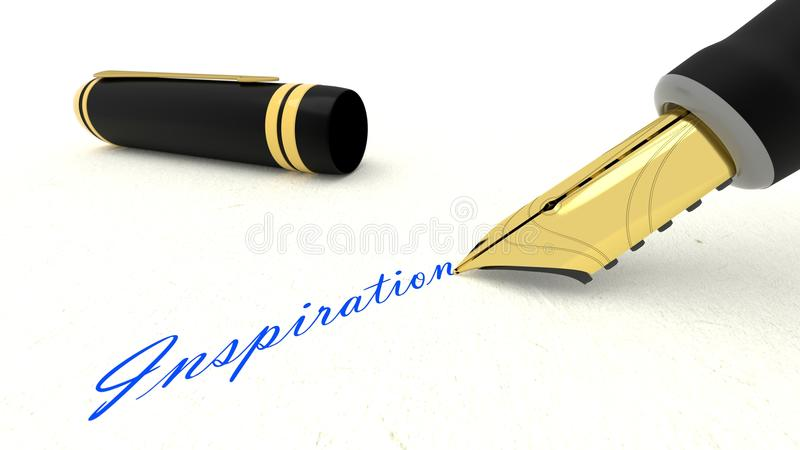 Black fountain pen writing the word inspiration stock illustration