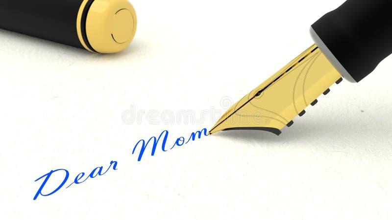 Black fountain pen writing the words dear mom. 3D illustration royalty free illustration
