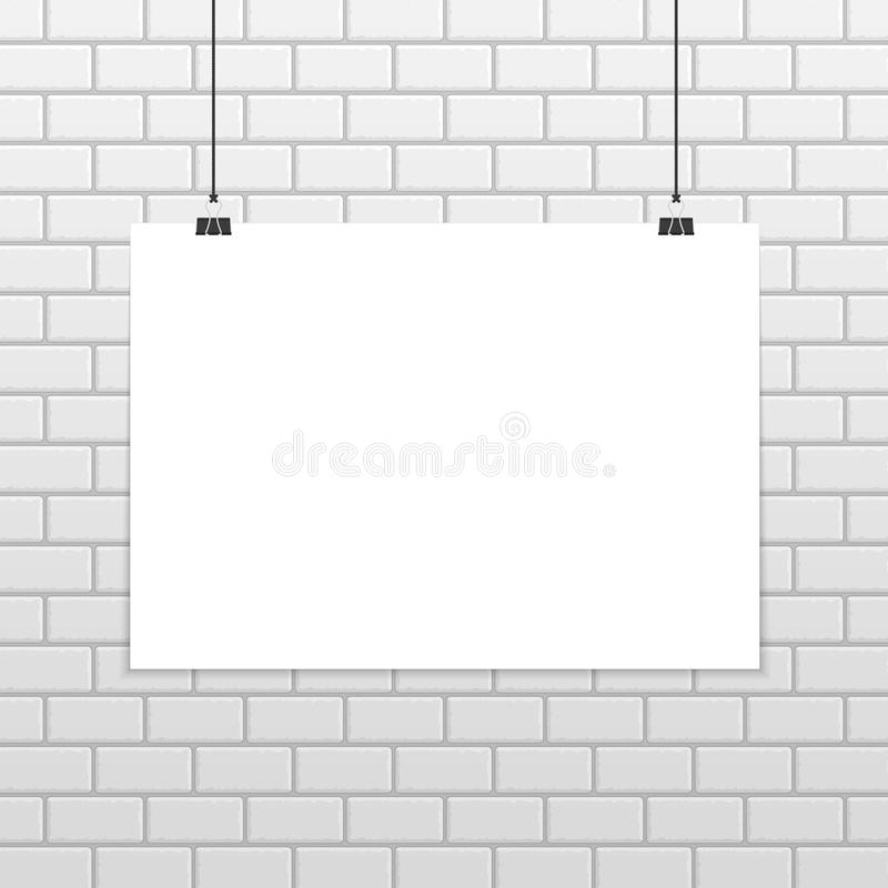 Black frame on brick wall. Empty white A4 sized vector paper mockup hanging with paper clips. Realistic horizontal poster mock-up isolated on white brick wall royalty free illustration