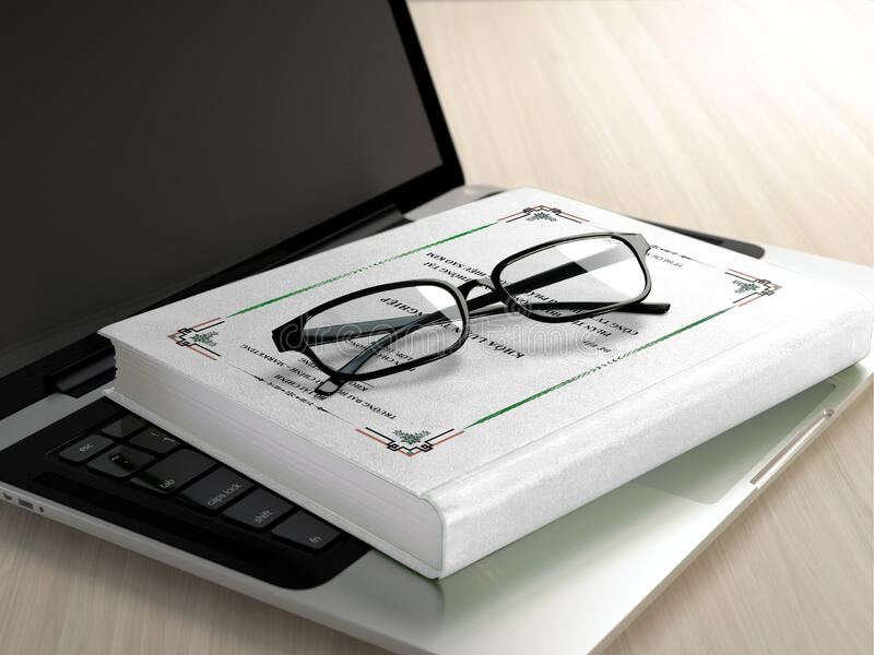 Black Frame Eyeglasses on White Book royalty free stock photo