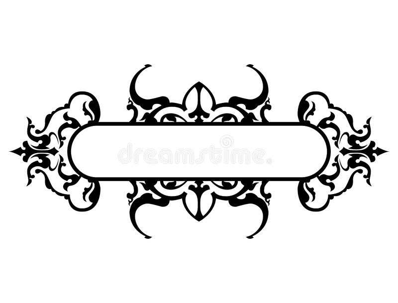 Black frame with floral decoration, vector illustration stock images