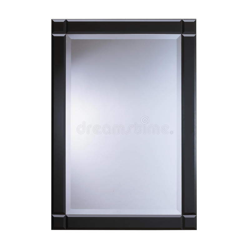Black frame glass mirror. Isolated on white background royalty free stock images
