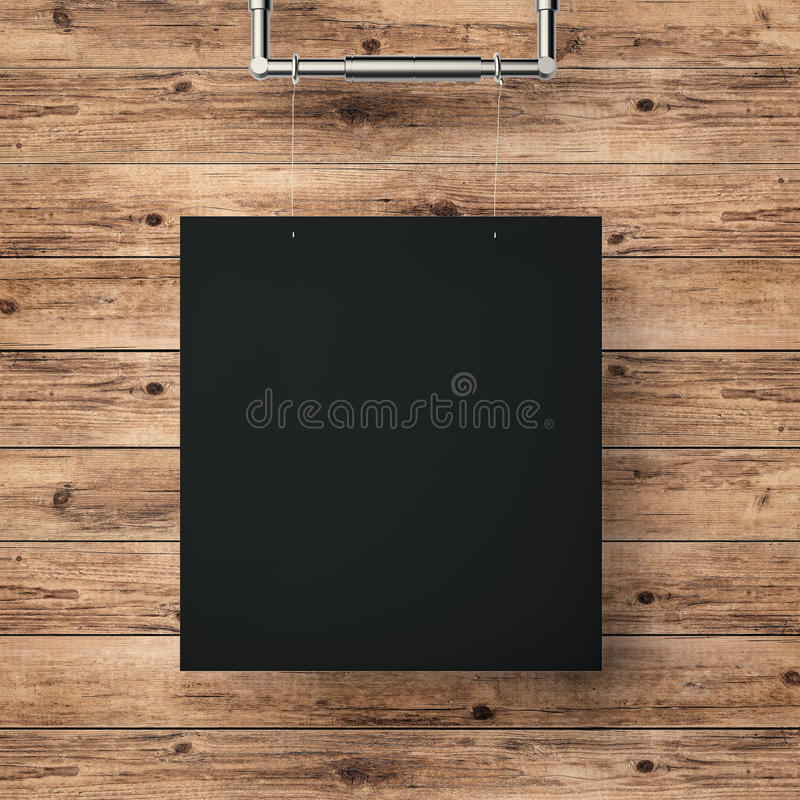 Black frame hanging on timber wall. Black blank frame hanging on timber wall background royalty free stock photography