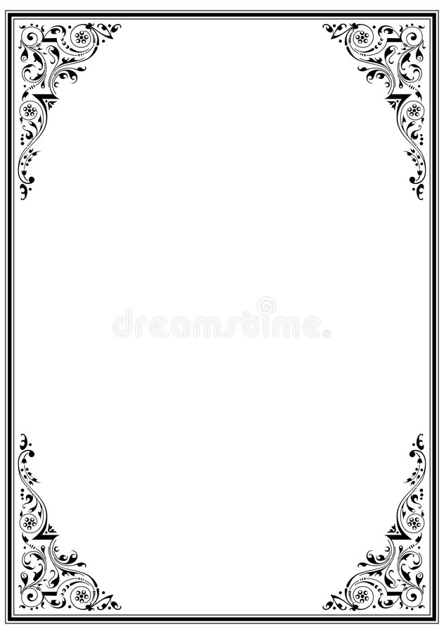 Black frame with ornament stock vector. Illustration of