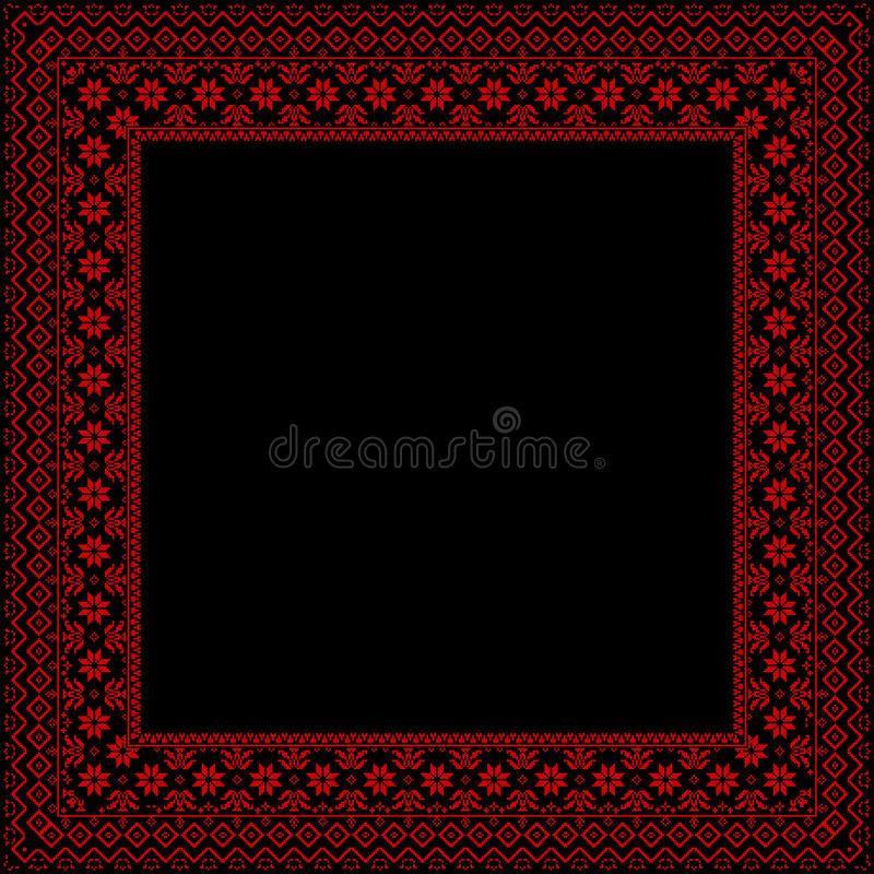 Download Black Frame With Red Ornaments Stock Vector - Image: 25155092