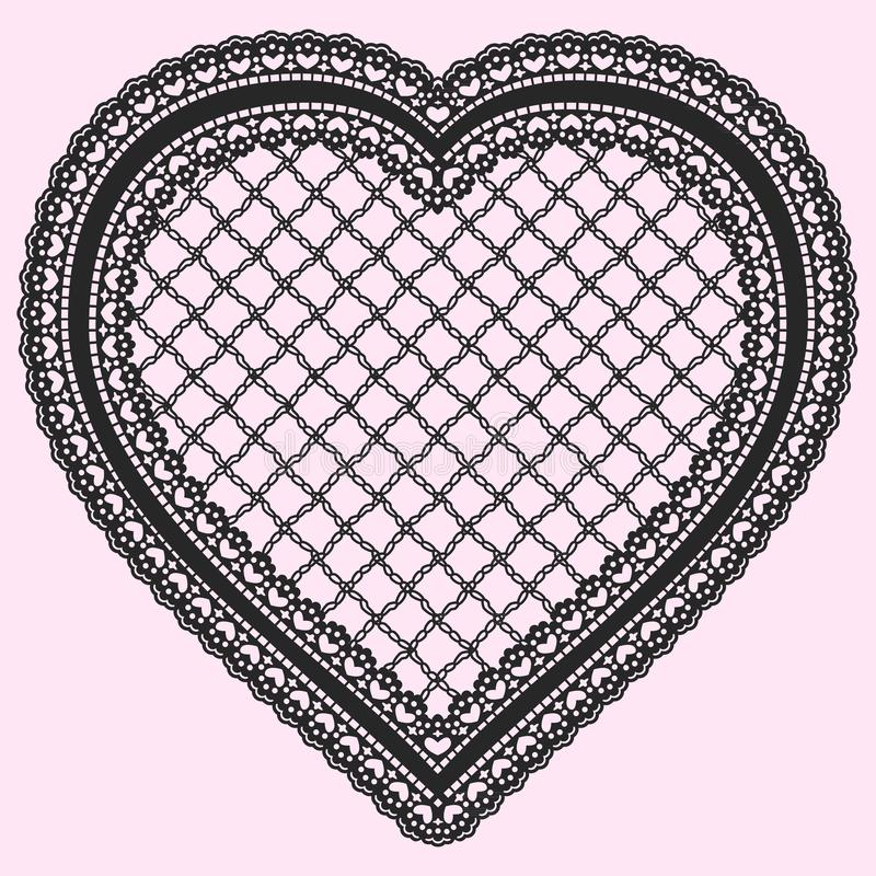 Black Frame in the shape of lacy heart isolated on a light background. Ornate element for design of invitations, cards or decoupag vector illustration