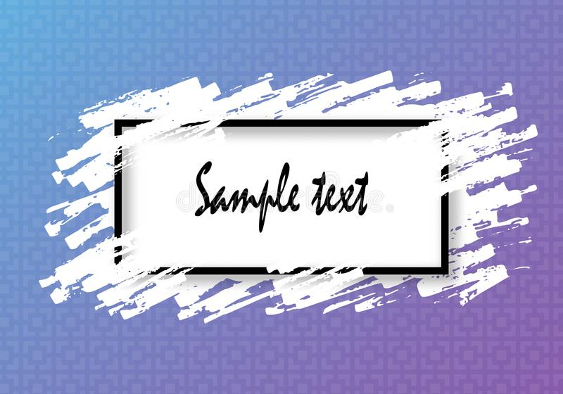 Black frame and strokes of white paint with shadow, spray. For Your text and design. On the background of blue and purple pattern. vector illustration